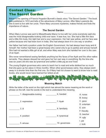 Worksheet Context Clues Worksheets 3rd Grade 1000 ideas about context clues worksheets on pinterest spelling 4th and 5th grade worksheet the secret garden using to
