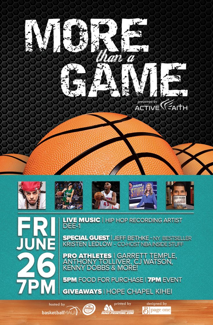 Promotional Flyer For Basketball Event By Www.BrandAndBrush.com.  #graphicdesign #basketball