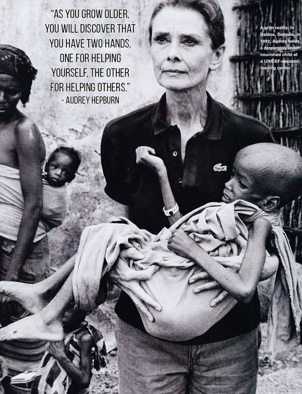 Later in life Audrey Hepburn spent many years in Africa helping the helpless.