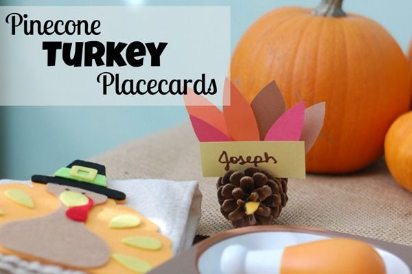 DIY Pinecone Turkey Placecards - the kids have a blast making these... from finding the pinecones to making their turkeys to helping set the kiddie table!