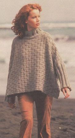Пончо-пуловер | ВЯЗАНИЕ спицами и крючком.