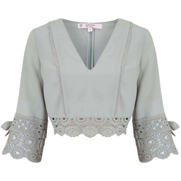Miss Selfridge PETITE Lace Hem Top (£39) ❤ liked on Polyvore featuring tops, miss selfridge tops, petite white tops, lacy white top, white lace top and white top