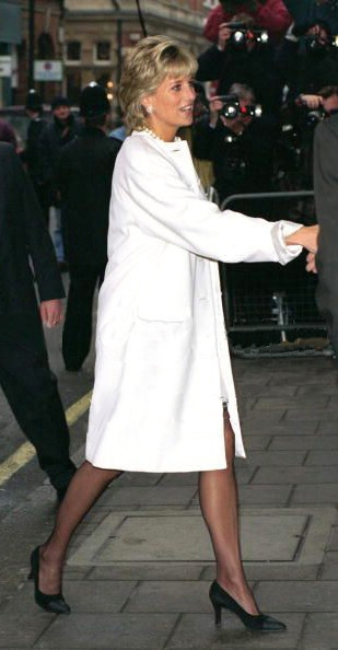 Princess Diana in a Versace Coat.....Uploaded By www.1stand2ndtimearound.etsy.com