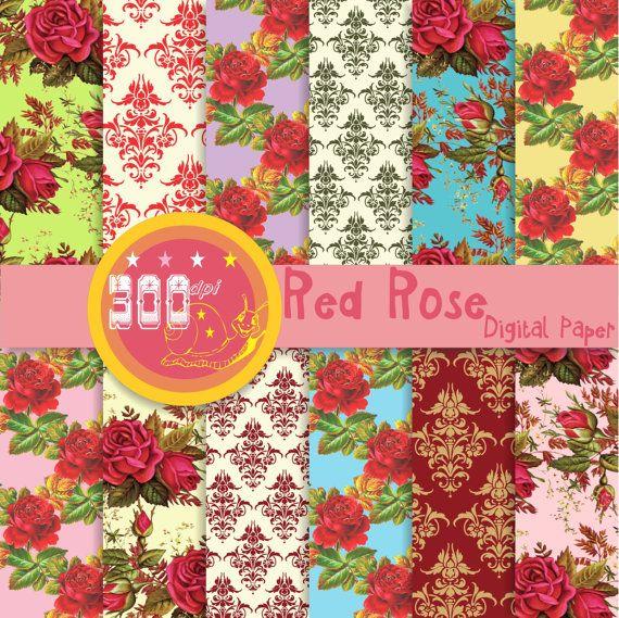 Rose digital paper red shabby rose backgrounds by GemmedSnail, $4.80