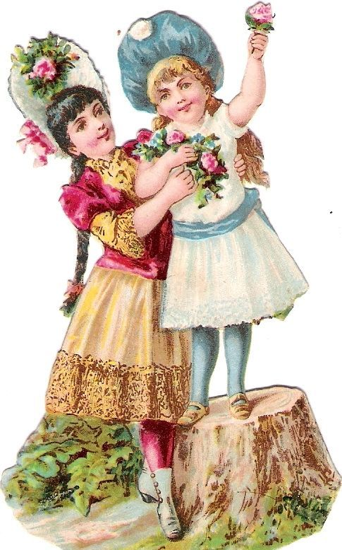 Oblaten Glanzbild scrap die cut chromo Kind child enfant Geschwister couple Paar