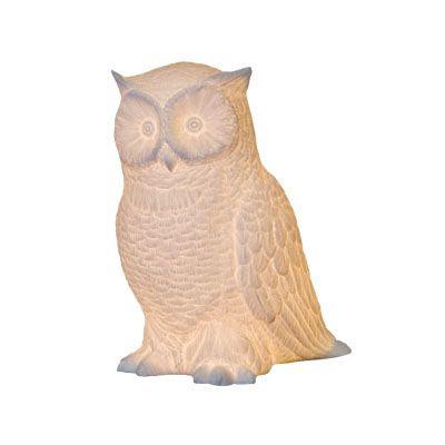 Porcelain Owl Lamp / White Owl Theme Table Lamp
