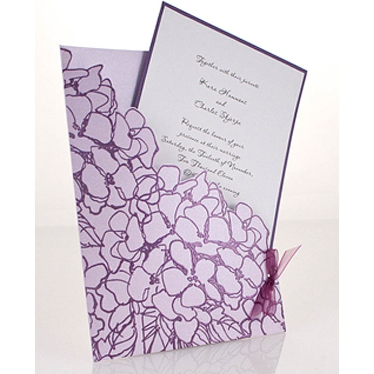 Invitations embossed with Jumbo Hydrangea and Amethyst