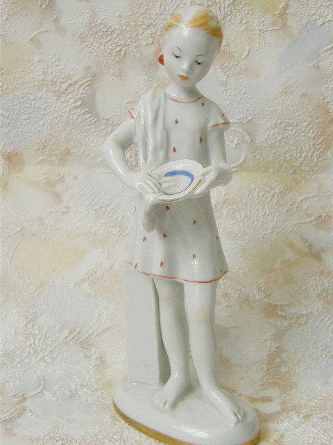 Lomonosov porcelain girl figurine. 7.67'' / 19.5 by SovietDreams, $440.00