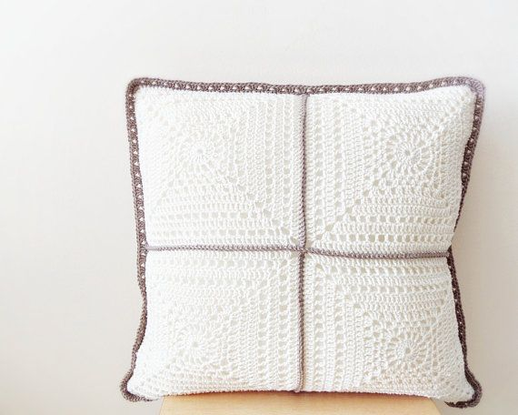 Ivory pillow cover crochet pillowcase throw pillow by DiaCrochets