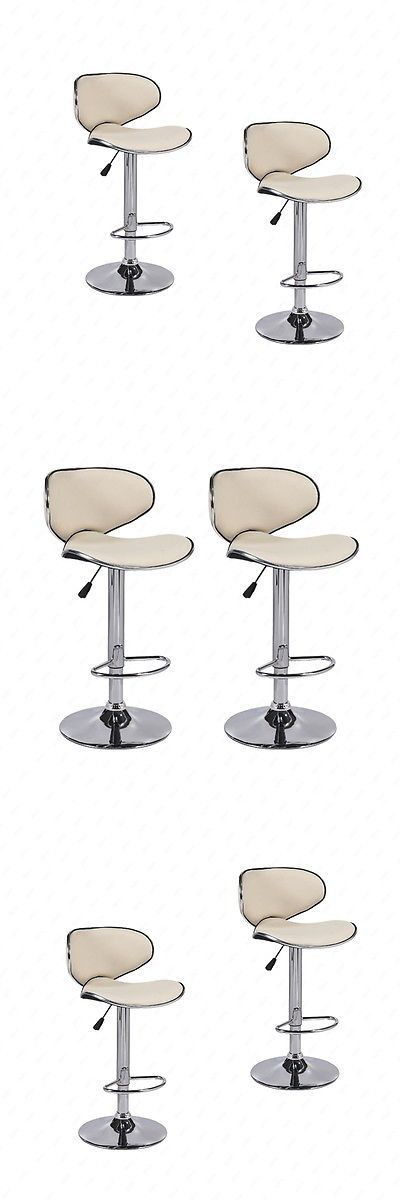 Bar Stools 153928: Bn Set Of 2 Adjustable Bar Stools Leather Hydraulic Swivel Dining Chair Cream -> BUY IT NOW ONLY: $59.9 on eBay!