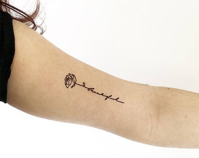 2 beaux tatouages temporaires de tatouage temporaire mot / tatouage calligraphie rose / mot floral / tatouage d'une ligne   – Blumen Rosen