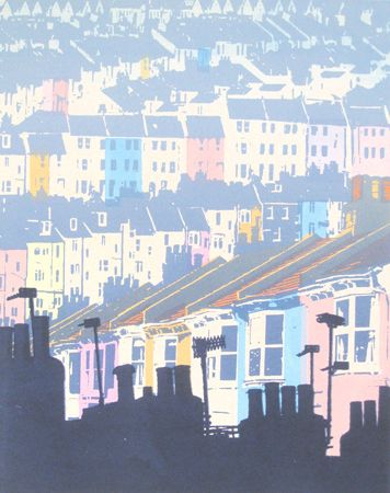 The houses up the hill  screenprint