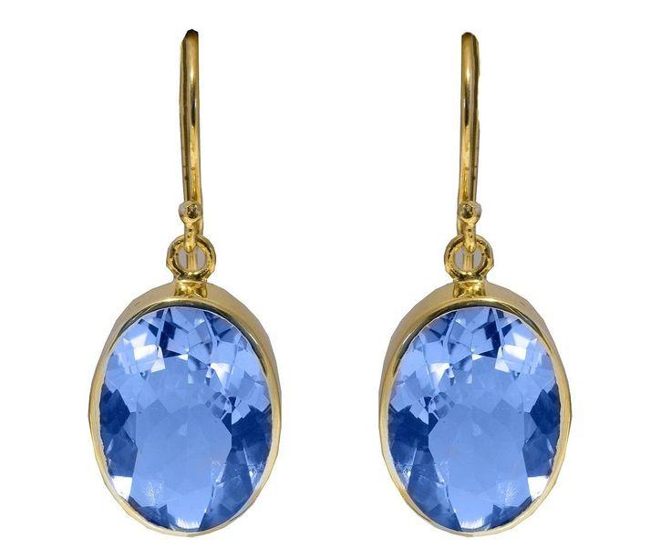 Oval Blue Chalcedony Earrings - Sterling Silver Guilded by StartJewellery on Etsy