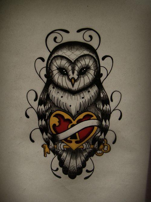 Awesome owl tattoo design.