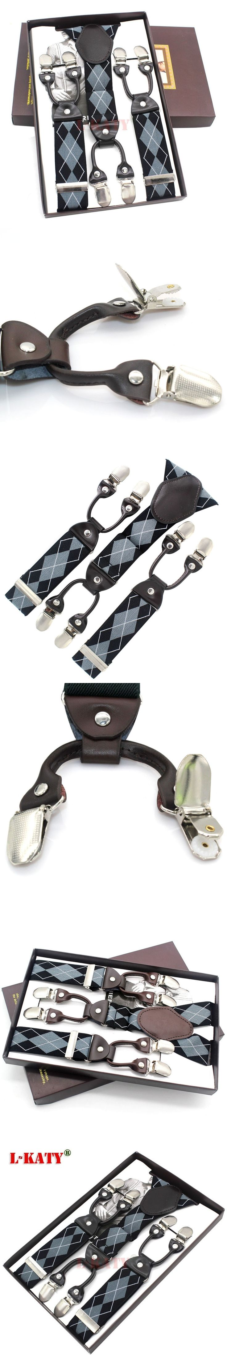 Blue & Black Plaid Elastic Male Suspenders Fashion 6clips western-style trousers man's braces Wedding accessories sangle MBD8608