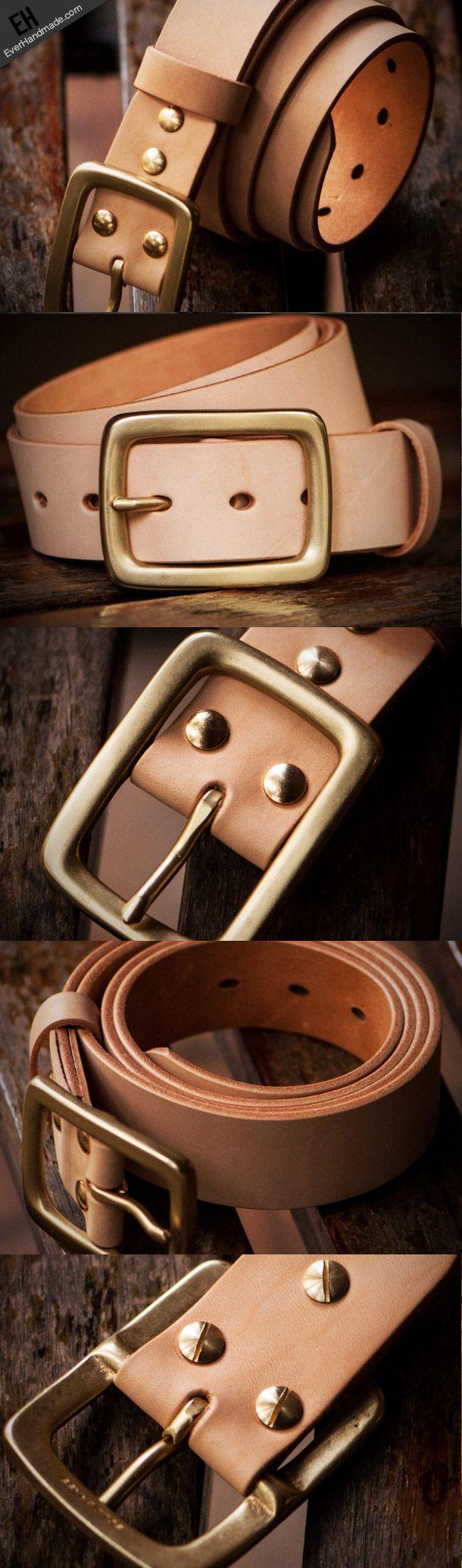 Handmade leather Beige gift Leather tooled men vintage men belt