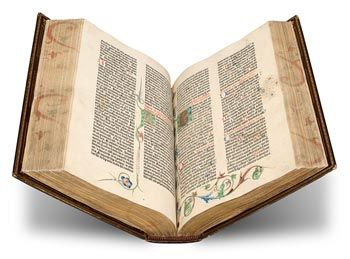 Photo of Gutenberg Bible, from the Morgan Library collection.  The Morgan is the only library in the world to possess three Gutenberg Bibles.