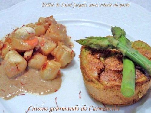 Poêlée de Saint Jacques sauce crémée au porto http://www.carmen-cuisine.com/article-poelee-de-saint-jacques-sauce-cremee-au-porto-103462948.html