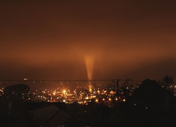 A fog-bound night at Ulverstone, Tasmania, and the light from the Anzac memorial, gives it an other worldly atmosphere.