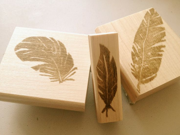 Fabulous Hand Carved Feather Stamps carved by Jen Davey