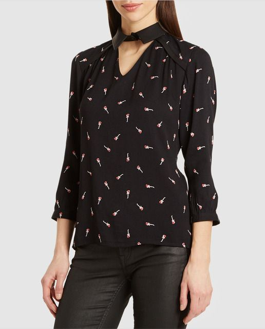 Blusa de mujer Kookai estampada con cuello de polipiel