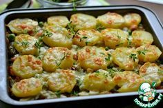 Запечённый картофель с маринованными огурцами и горошком - кулинарный рецепт