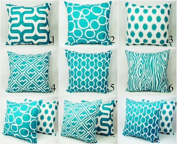Teal Couch Pillow Covers - Pick Your Own Set of Two Turquoise and White 20 x 20 Inch Decorative Throw Pillow Cushion Cover Accent Pillow