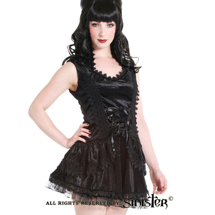 Black velvet and tulle gothic miniskirt by Sinister (Skirt 626 & Top 627) www.sinister.nl