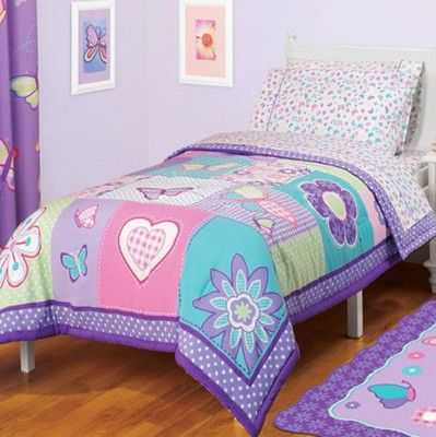 Reversible girls pink purple blue butterfly comforter sheets bedding - Blue beds for girls ...