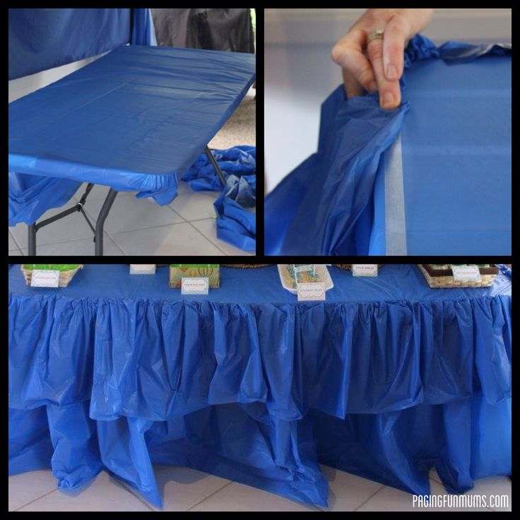 Cheap & Easy Party Table Ruffle LOVE THE DOUBLE SIDED TAPE IDEA!