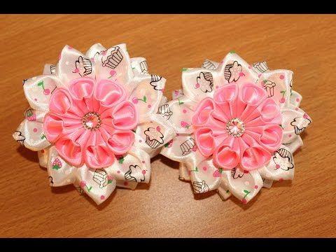 Летняя повязочка канзаши/Цветок из репса/Summer Headband kanzashi - YouTube