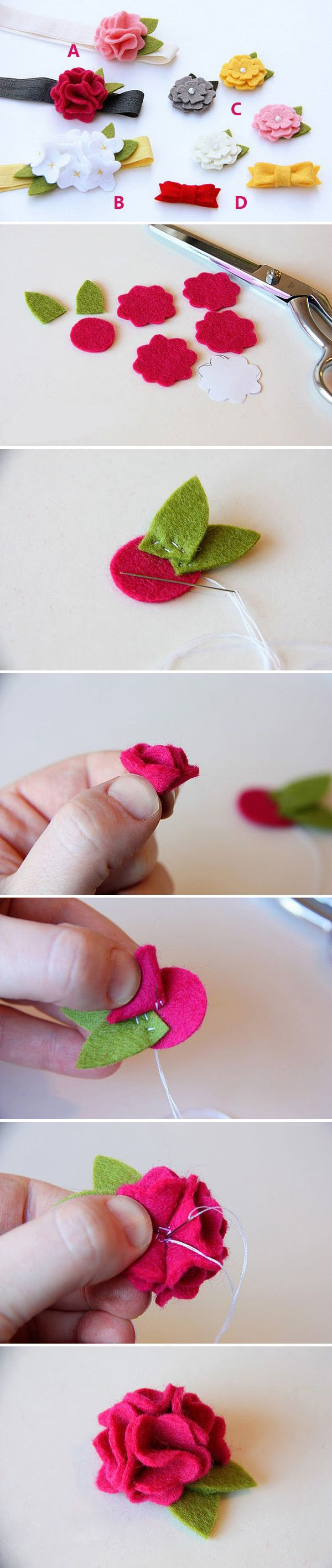 Felt flower tutorial --- no directions. Just photos. Looks easy enough.