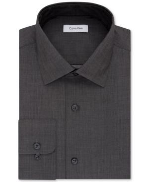 Calvin Klein Steel Men's Classic-Fit Non-Iron Performance Solid Dress Shirt - Gray 15.5 32/33