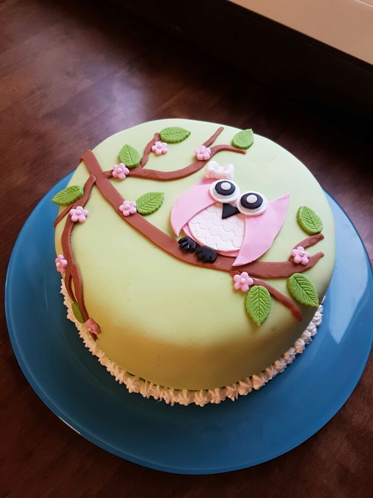 Owlcake with strawberry and lime filling.