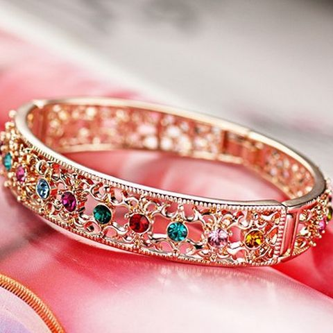 Luxiours Queen Bangles 18K Rose Gold Plated With Austrian Crystal Stel | Stylish Beth