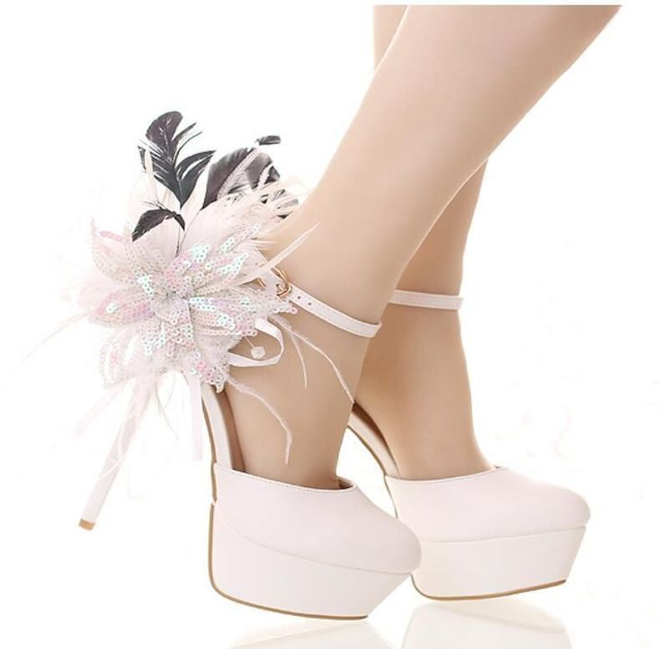 Womens Round Toe Floral Strappy Wedding Shoes High Heel Stilettos Platform B36
