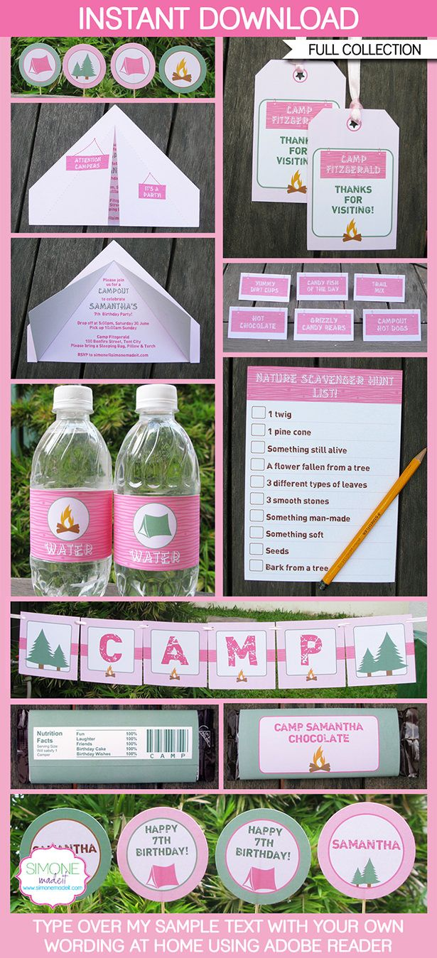 Pink Camping Party Printables, Invitations & Decorations | Tent Invitation | Birthday Party | Editable Theme Templates | INSTANT DOWNLOAD $12.50 via SIMONEmadeit.com