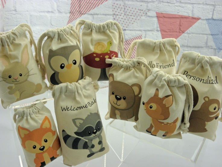 """Muslin Bags Forest Woodland Animals Favor Baby Shower or Birthday Bags 4"""" X 6"""" Qty 9"""