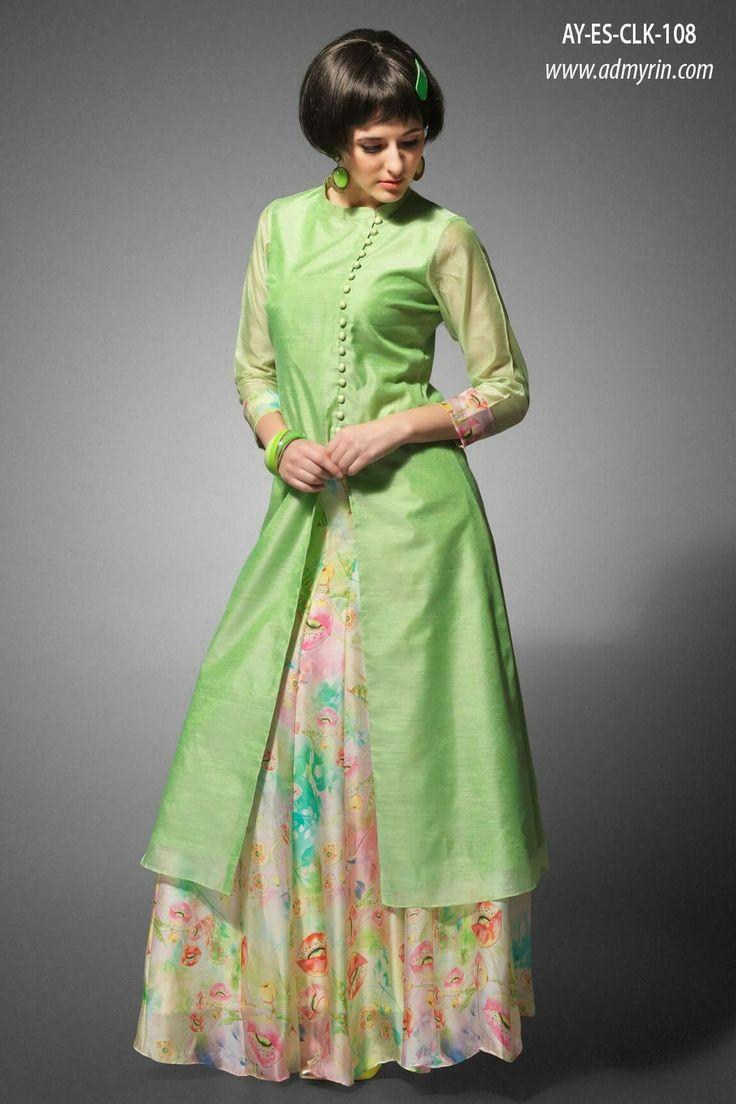 de27c19c233 Shop Green cotton silk wedding wear designer anarkali salwar