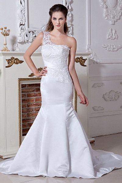 Elegant One-shoulder Trumpet-Mermaid Wedding Dress wr0217 - http://www.weddingrobe.co.uk/elegant-one-shoulder-trumpet-mermaid-wedding-dress-wr0217.html - NECKLINE: One-shoulder. FABRIC: Satin. SLEEVE: Sleeveless. COLOR: White. SILHOUETTE: Trumpet/Mermaid.