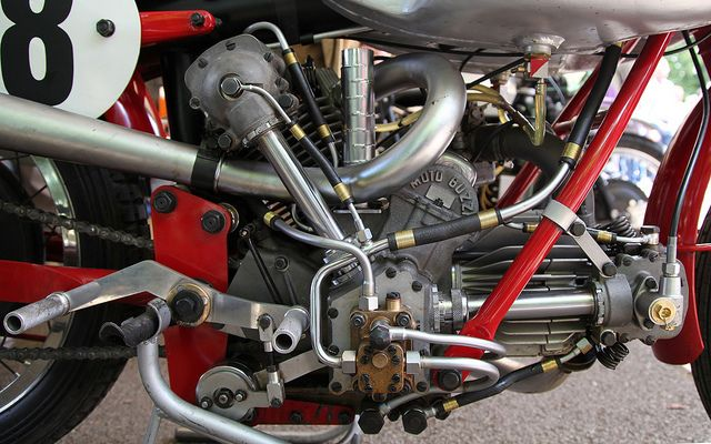 1951 Moto Guzzi Bicilindrica 120° V Twin 500cc. One of most incredible engines made by Moto Guzzi. A world changer, worthy of a book of it's own!