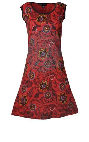 Red Summer Sleeveless Dress With Floral Prints & Embroidery.