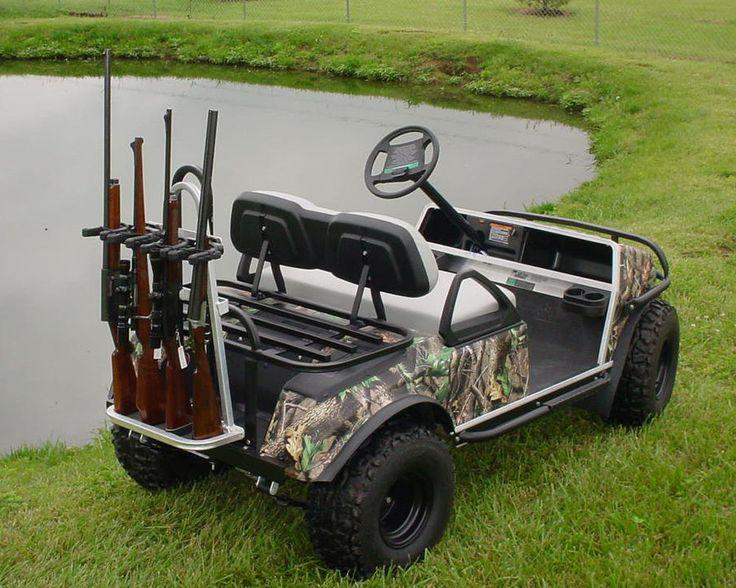 Universal Golf Cart Rear Seat Kit Black Hunting/Gun Rack * Holds 4 Guns