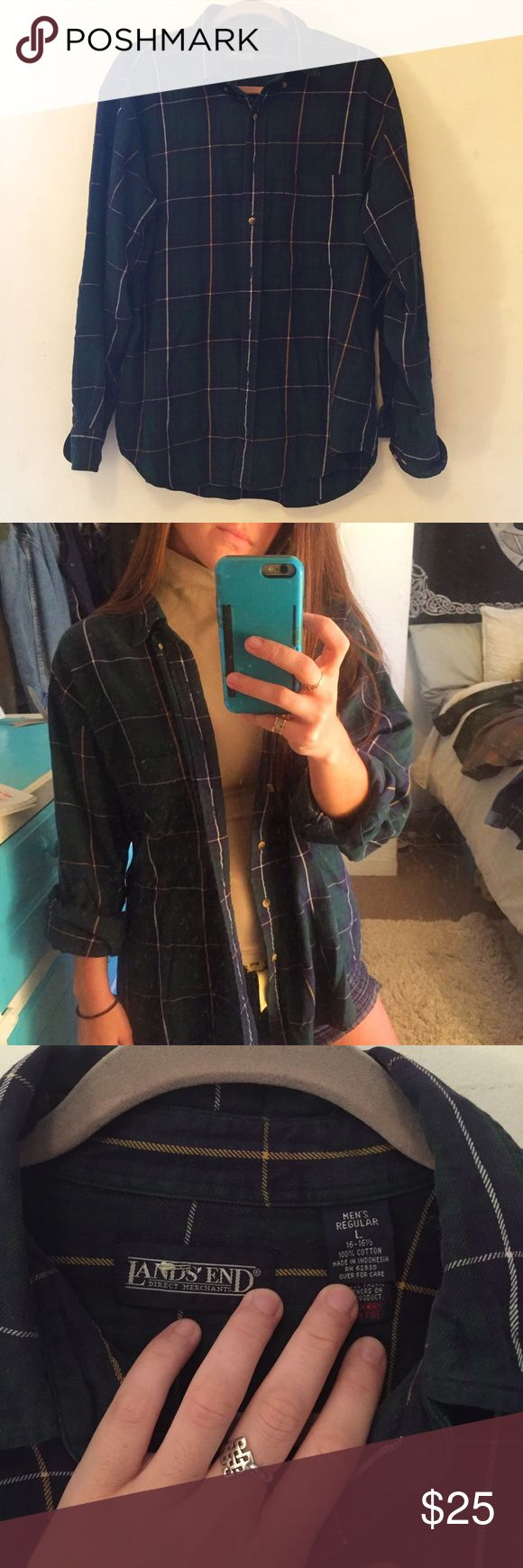 Perfect oversized flannel 🍂 Oversized flannel, perfect for wearing with leggings or tying around the waist. Men's size LARGE, I'm a S and it's a nice baggy fit. One of my favorites but I need to cut down on my collections of 15+ flannels! Not American apparel, tagged for exposure American Apparel Tops Button Down Shirts