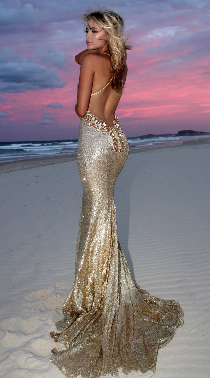 Gold Angel backless prom/ formal dress by STUDIO MINC