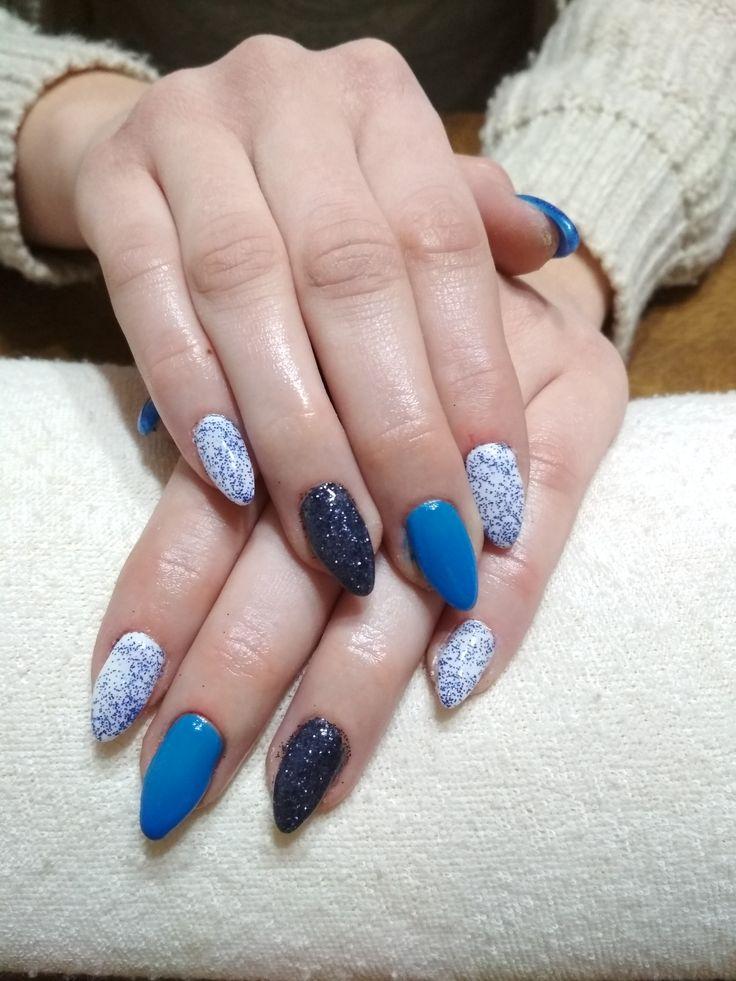 white and blue gel, blue and black glitter, glitter gel