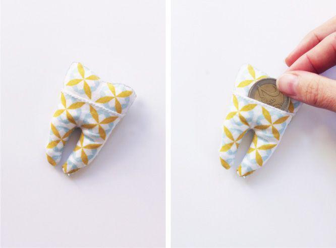 Un joli DIY pour nos petites têtes blondes et leurs quenottes : une pochette en forme de dent de lait à glisser sous l'oreiller. La Petite Souris va passer!