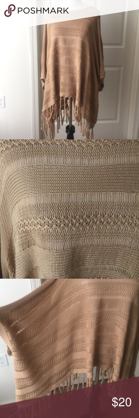 Grace & Lace Poncho Tan poncho. Lightweight. Fringes on bottom. Grace & Lace started from Shark Tank the tv show Grace & Lace  Tops Tunics