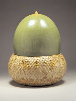 Ceramics by Kate Malone at Studiopottery.co.uk - An Acorn Box, 2007, crystalline-glazed stoneware. H 34cm - 27.5cm.
