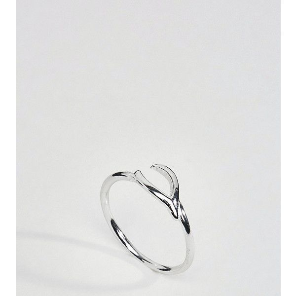 Reclaimed Vintage Inspired Sterling Silver Wishbone Midi Ring (£20) ❤ liked on Polyvore featuring jewelry, rings, silver, sterling silver midi rings, top finger rings, wishbone jewelry, midi rings and mid finger rings